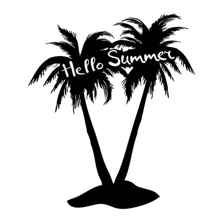 Black vector single palm tree silhouette icon isolated Stock Photo