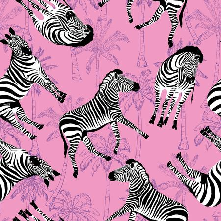Sketch Seamless pattern with wild animal zebra print, silhouette on white background. Vector illustrations. Wild African animals. Stock Illustration - 100862015