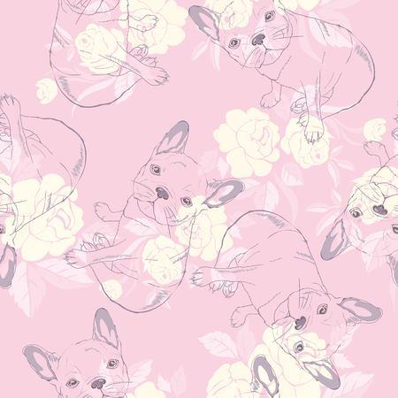 dog french bulldog. heart sunglasses. glasses icon. illustration seamless pattern wallpaper background Standard-Bild - 100862020
