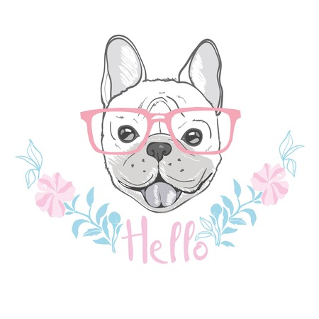 cute french bulldog princess, hand drawn graphic, animal illustration