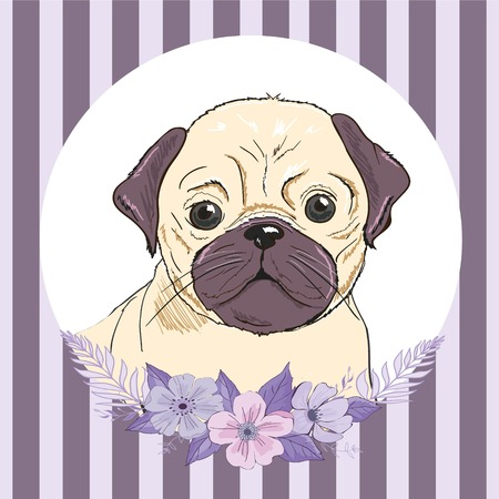 bulldog with flowers, illustration vector Archivio Fotografico - 100897351