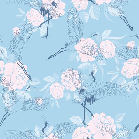 crane, flying, pattern vector illustration bird flower Фото со стока