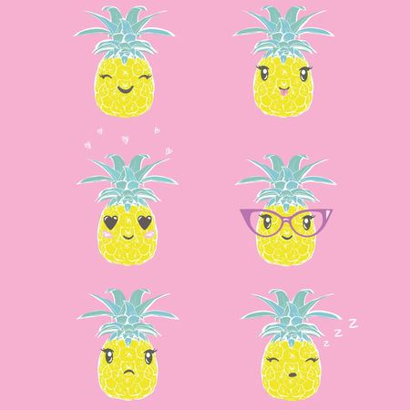 pineapple set, tropical, vector, illustration design exotic food fruit
