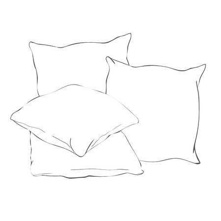 sketch vector illustration of pillow, art, pillow isolated, white pillow, bed pillow, bed, comfort, design, domestic, fabric, feather, isolated, sleep, soft, style, textile, comfortable, cotton, creative, object, relax, white, line, art, doodle, icon airy comfy digital draw drawing element freehand graphic homemade image ink outline ruffles scribble set sign sketch sketching symbol web cushion fluffy