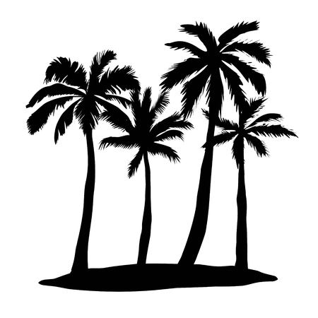 Black vector palm tree silhouette icon isolated Illustration