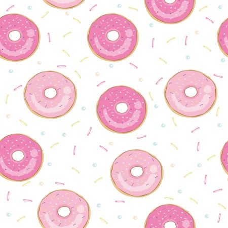 Donut vector illustration. Seamless pattern, background, card, poster Template for design Banque d'images - 102791477