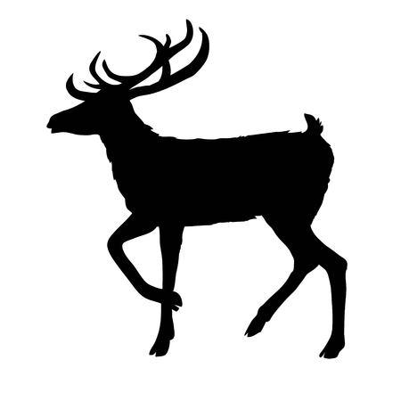 silueta de venado, vector, ilustración, animal, negro, naturaleza