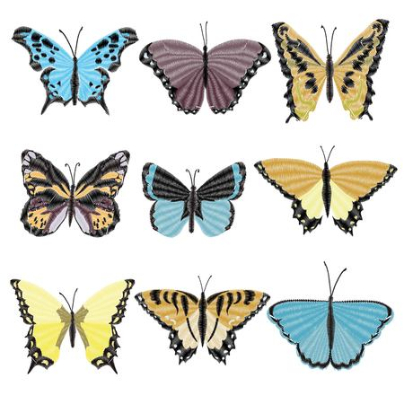 embroidery butterfly design for clothing. insect vector decoration. isolated Banque d'images - 102791661