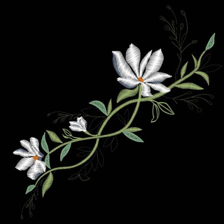 Magnolia embroidery , vector, illustration
