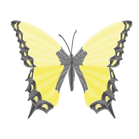 embroidery butterfly design for clothing. insect vector decoration. isolated Stock Illustratie