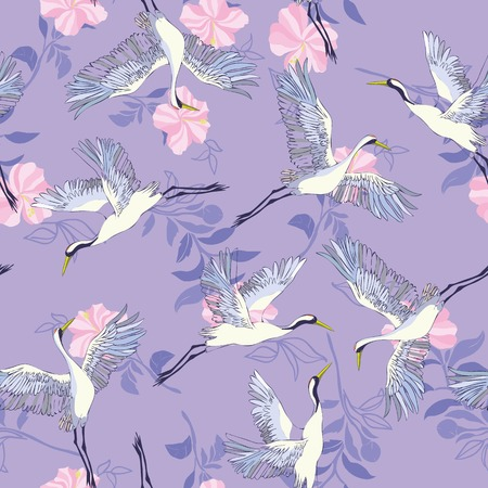 crane, pattern, vector illustration flying bird flower