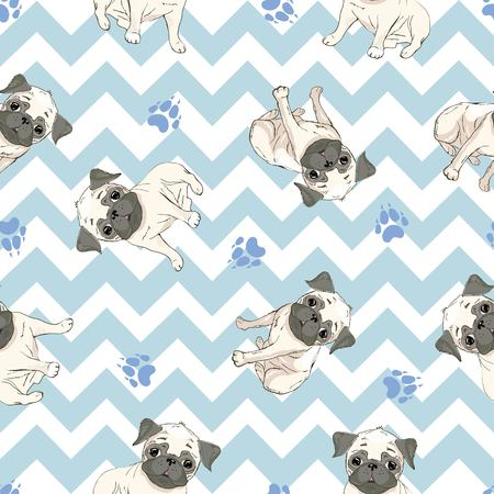 Vector seamless pattern with cute cartoon dog puppies. Can be used as a background, wallpaper, fabric and for other design.French Bulldog pattern 版權商用圖片 - 102791887