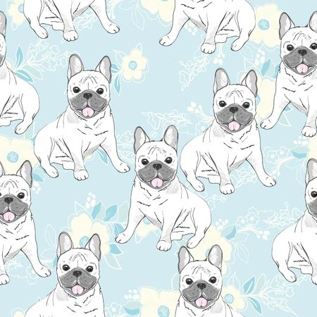 Vector seamless pattern with cute cartoon dog puppies. Can be used as a background, wallpaper, fabric and for other design.French Bulldog pattern 版權商用圖片 - 102791889