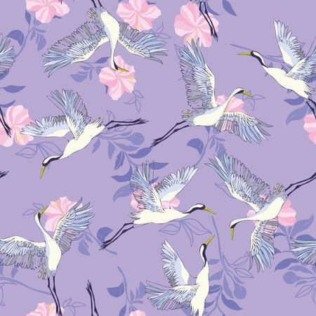 crane, pattern, vector illustration flying bird flower