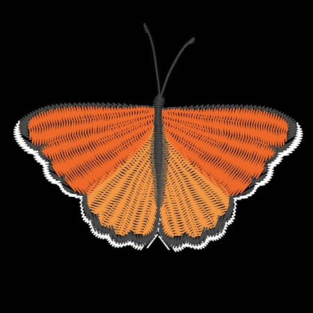 embroidery butterfly design for clothing. insect vector decoration. isolated Stockfoto