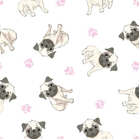 Vector seamless pattern with cute cartoon dog puppies. Can be used as a background, wallpaper, fabric and for other design.French Bulldog pattern