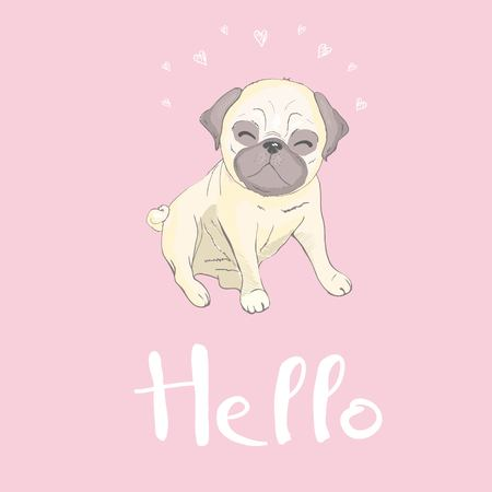 Cute pug and happy face on a pink background, dog vector, illustration.