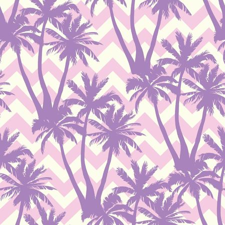 Palm tree pattern. Seamless hand drawn textures on exotic trendy background. Stock Illustratie