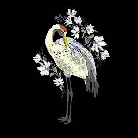 Embroidery with crane bird. Fashion decoration. Design element Vector