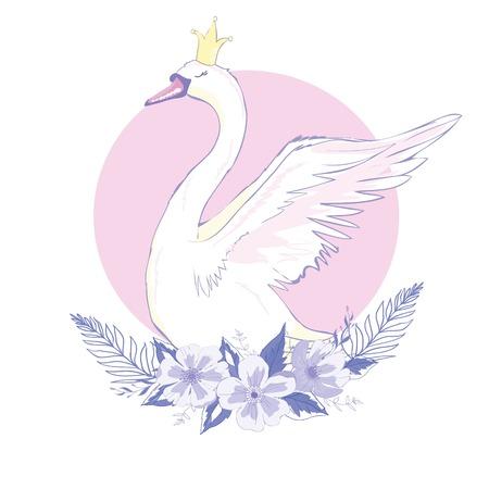 cute lovely princess swan, vector, illustration