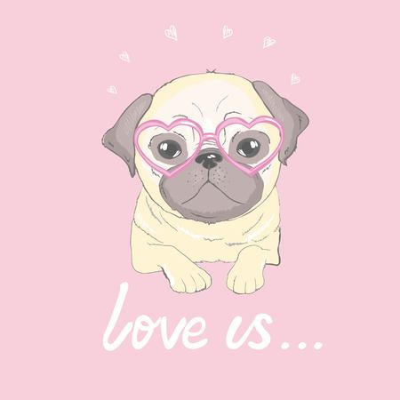 Pug Puppy, illustration, vector cute dog animal
