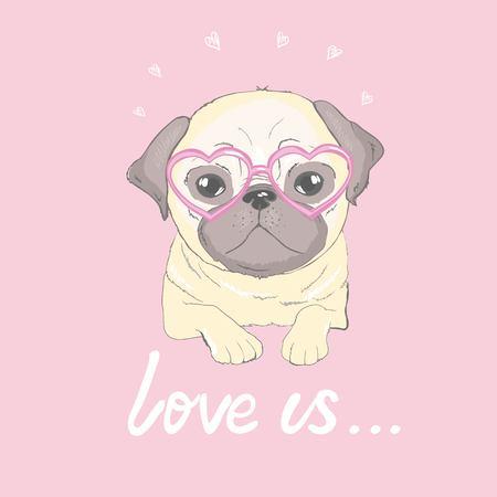 Pug Puppy, illustration, vector cute dog animal