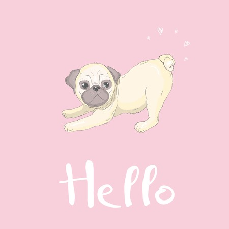 Cute pug and happy face on a pink background, dog vector, illustration. Foto de archivo - 104011992