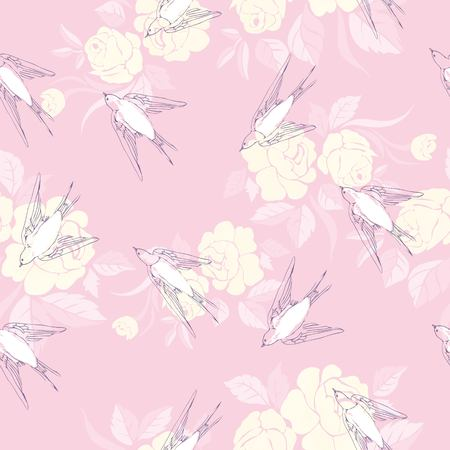 vintage pattern with little swallows, illustration, vector