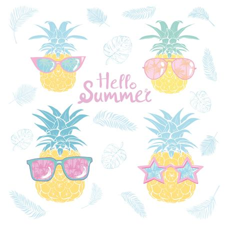 pineapple with glasses tropical, vector, illustration, design, exotic, food, fruit Stok Fotoğraf - 104013365