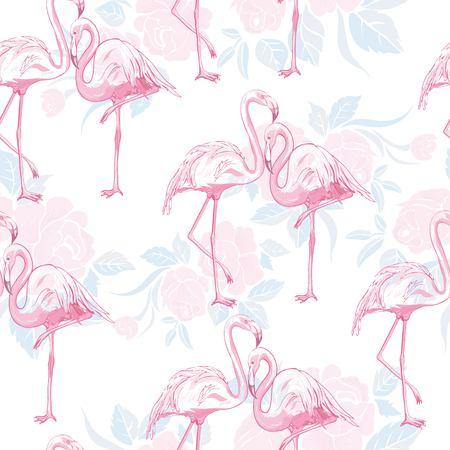 seamless flamingo pattern vector, illustration, bird, design, summer pink print textile tropical