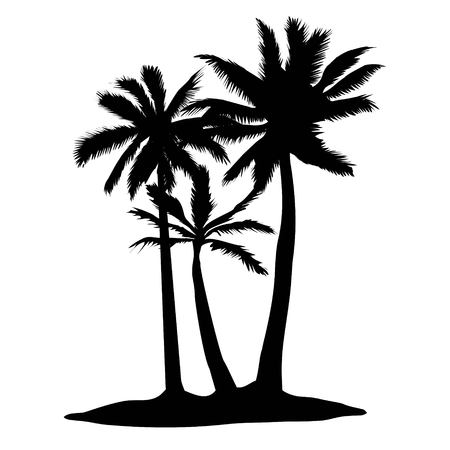 Vector palm tree silhouette icons on white background Imagens