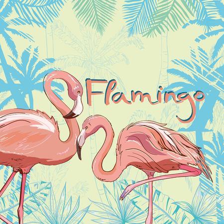 Pink flamingo, vector, illustration bird design print tropical