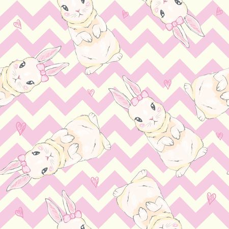 Seamless pattern with cute cartoon bunny. Baby pattern. 스톡 콘텐츠 - 112242345