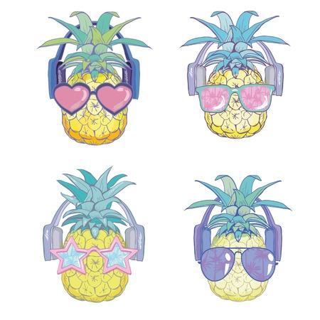 Pineapple with sunglases and headphones. Vector illustration.