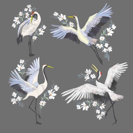 Embroidery with crane bird. Fashion decoration. Design element Vector Vetores