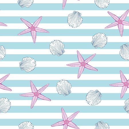 Marine background. Hand drawn vector illustrations - seamless pattern of seashells.