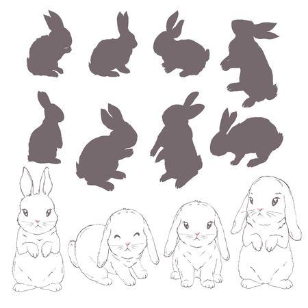 rabbit silhouette and sketch, vector, illustration bunny black Çizim