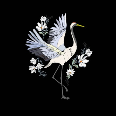Embroidery with crane bird. Fashion decoration. Design element Vector Banque d'images - 112242369