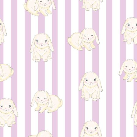 Seamless pattern with cute cartoon bunny. Baby pattern.