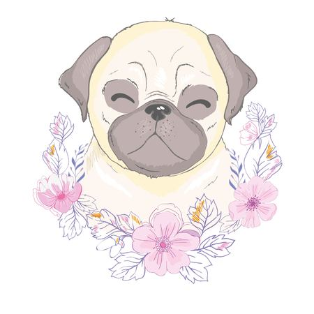 Pug Puppy, illustration, vector cute dog animal Banco de Imagens - 121835163