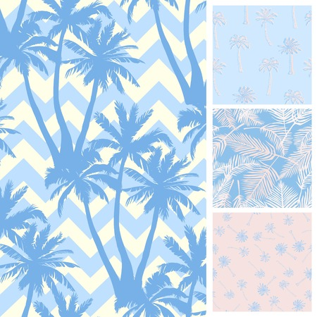 Palm tree pattern. Seamless hand drawn textures on exotic trendy background. Stok Fotoğraf