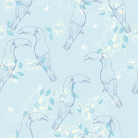 Seamless pattern with hand drawn toucan, bird, illustration, vector