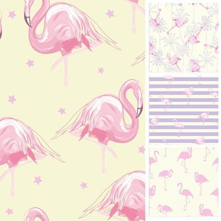 Set seamless backgrounds with pink flamingos, vector, illustration