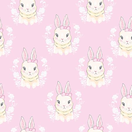 Seamless pattern with cute cartoon bunny. Baby pattern. Banque d'images - 112242373