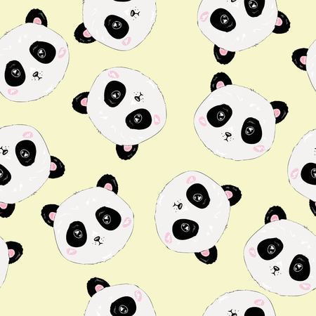 Seamless Cute Cartoon Panda Pattern, vector, animal Çizim
