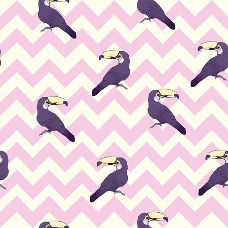 Seamless pattern with hand drawn toucan, bird, illustration, vector Foto de archivo - 112242378
