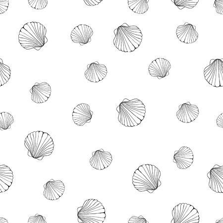 Marine background. Hand drawn vector illustrations - seamless pattern of seashells.