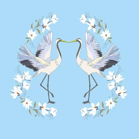 Crane, illustration, bird in flight Design element Vector