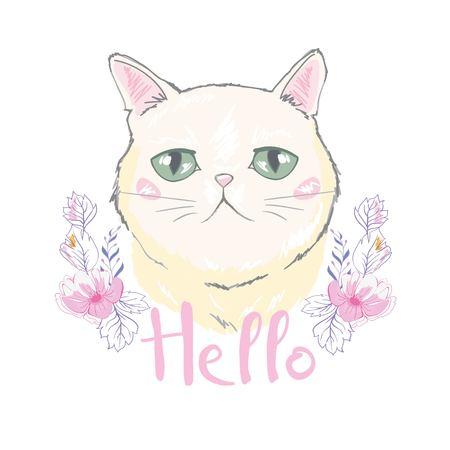 Cute cat vector design.Children illustration for School books and more.Meow slogan. Animal print. Illustration