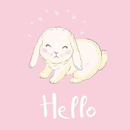 Cute bunny, vector, illustration, animal, rabbit, happy.